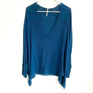 Free People Teal Drippy Waffle Thermal Sz S